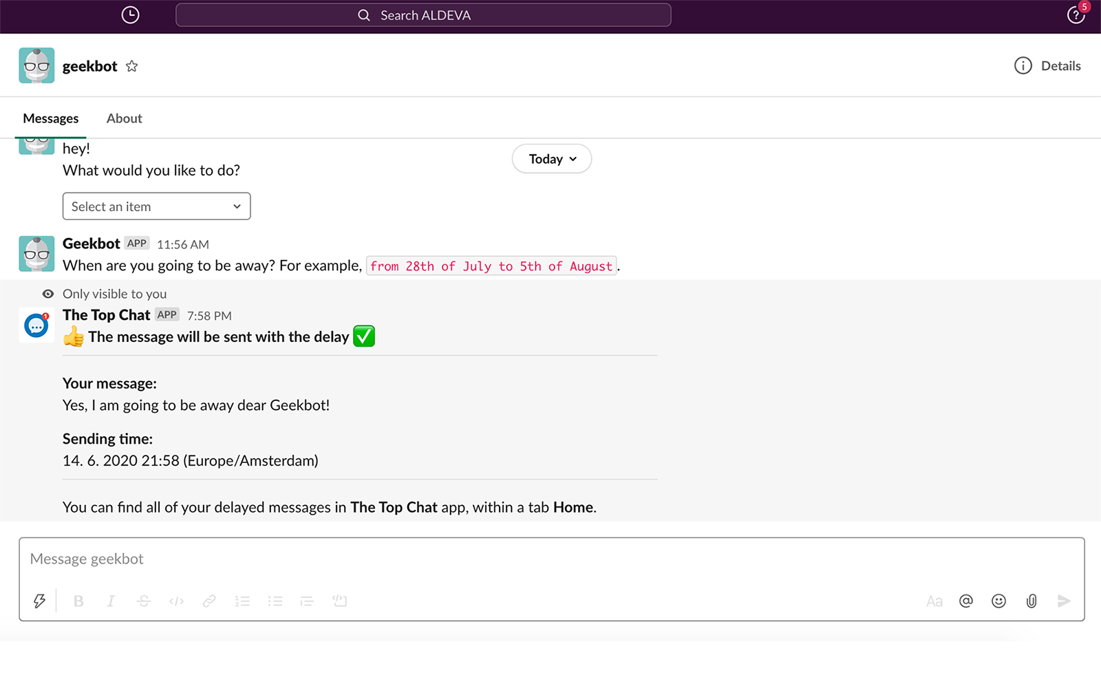 How to send a delayed message in Slack
